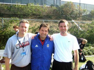 Ed Callaghan (left) and James Harrop (right) pictured with US World Cup star Preki.
